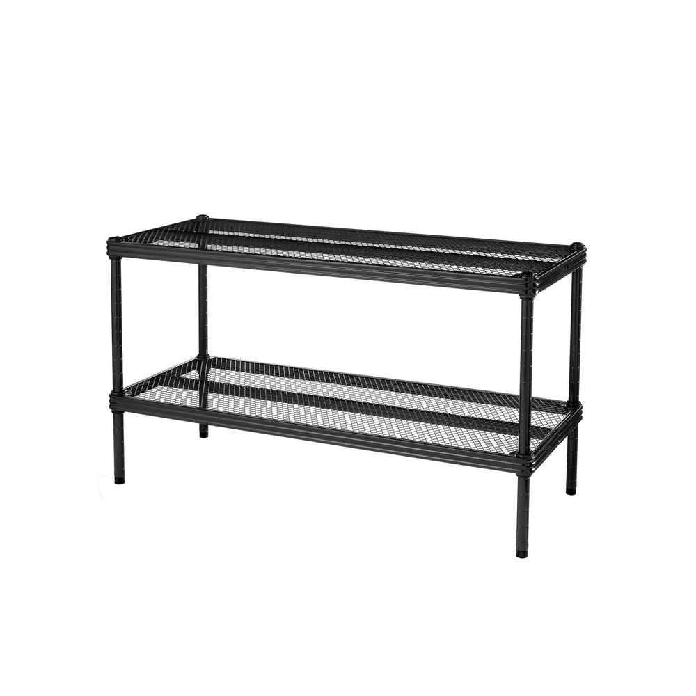 Design Ideas MeshWorks 30.75 in. x 11.8 in. x 15.75 in. 2-Tier Black Shoe Shelf