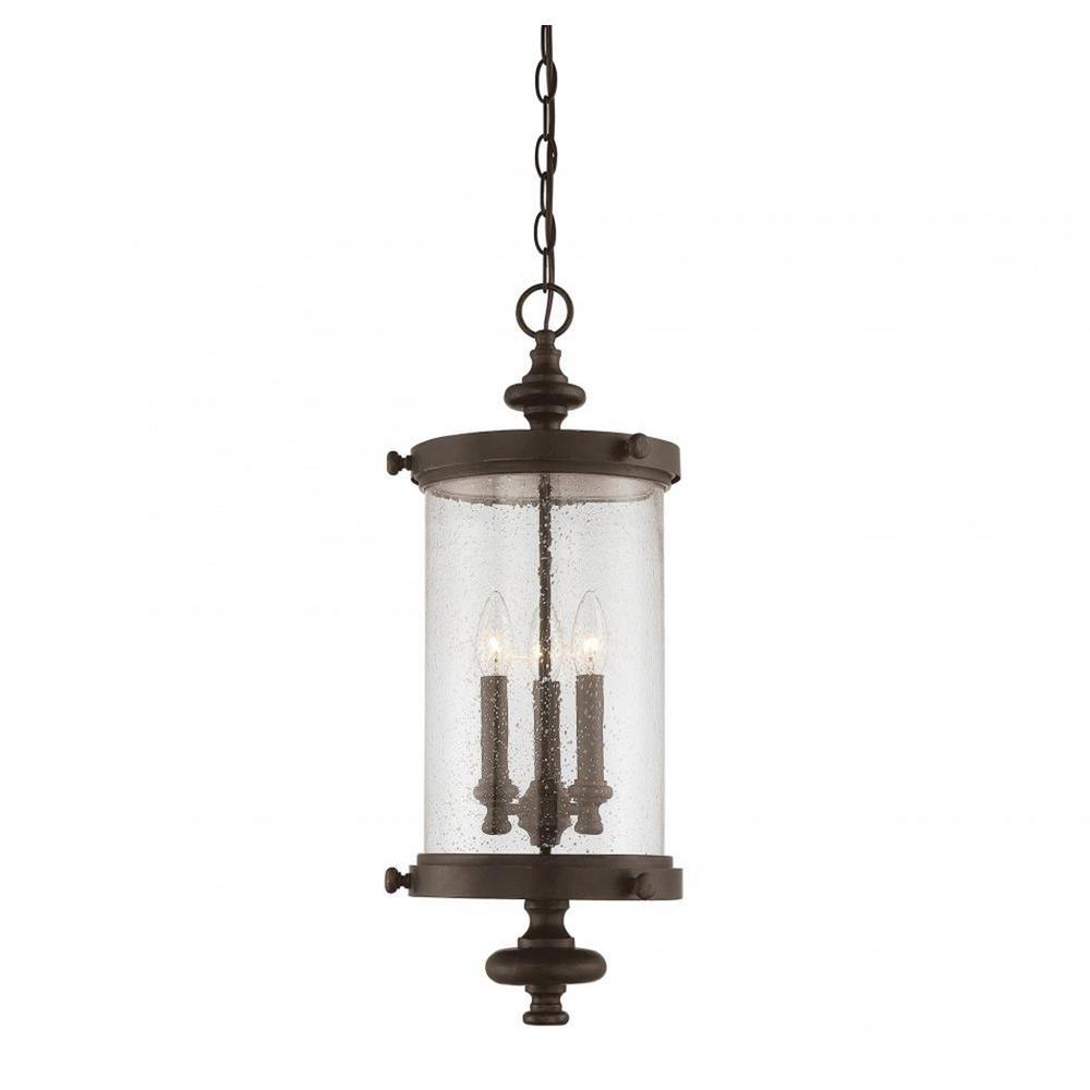 Elijah Walnut Patina 3-Light Outdoor Hanging Lantern