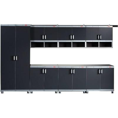 FastTrack Garage Laminate Cabinet Set in Black/Silver (7-Piece)