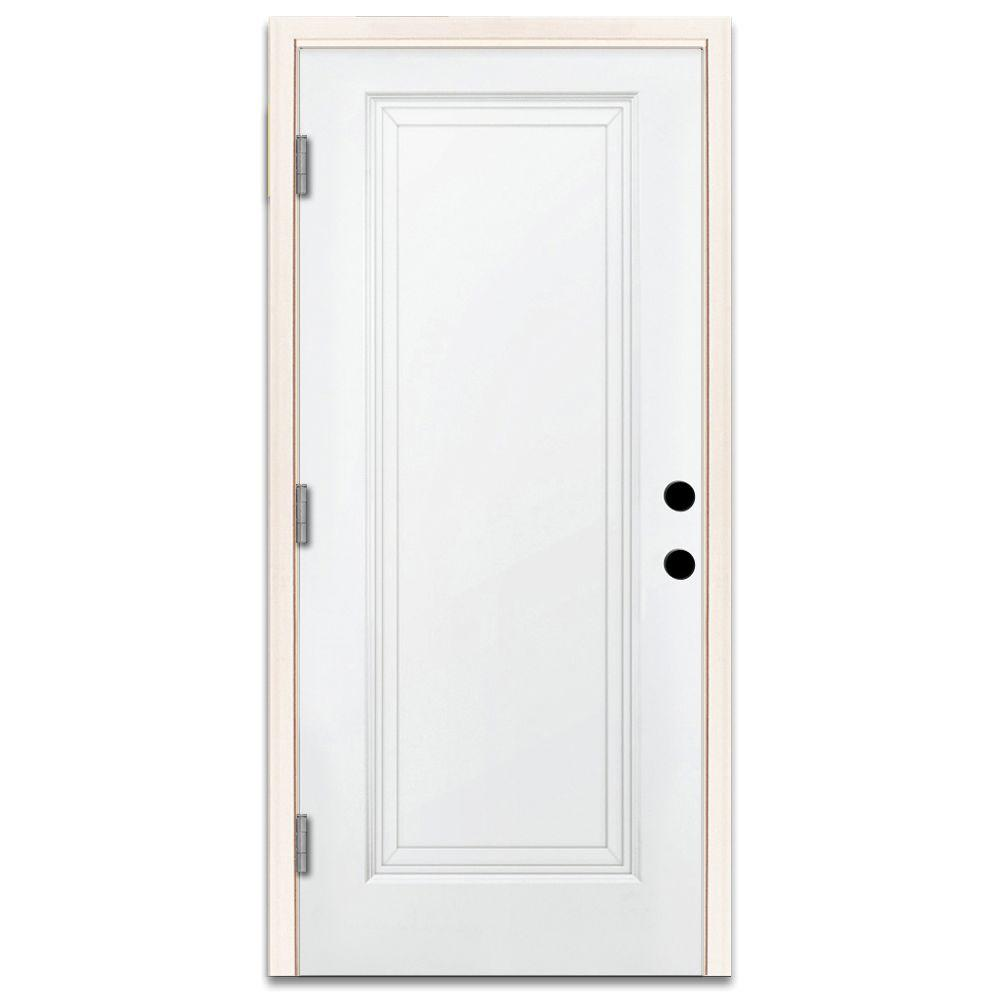 Ordinaire Premium 1 Panel Primed White Steel Prehung Front Door With 36 In.  Right Hand Outswing And 4 In. Wall