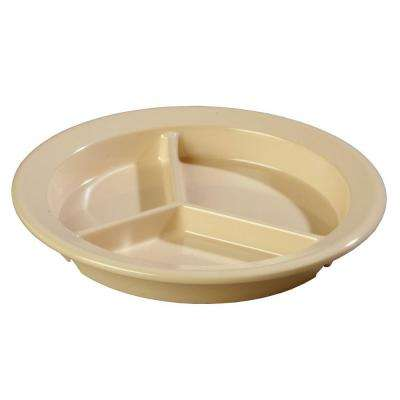 9 in. Diameter, 1.33 in. D Melamine 3-Compartment Plate in Tan (Case of 24)