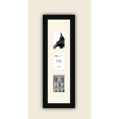 3-Opening Vertical 4 in. x 6 in. White Matted Black Photo Collage Frame