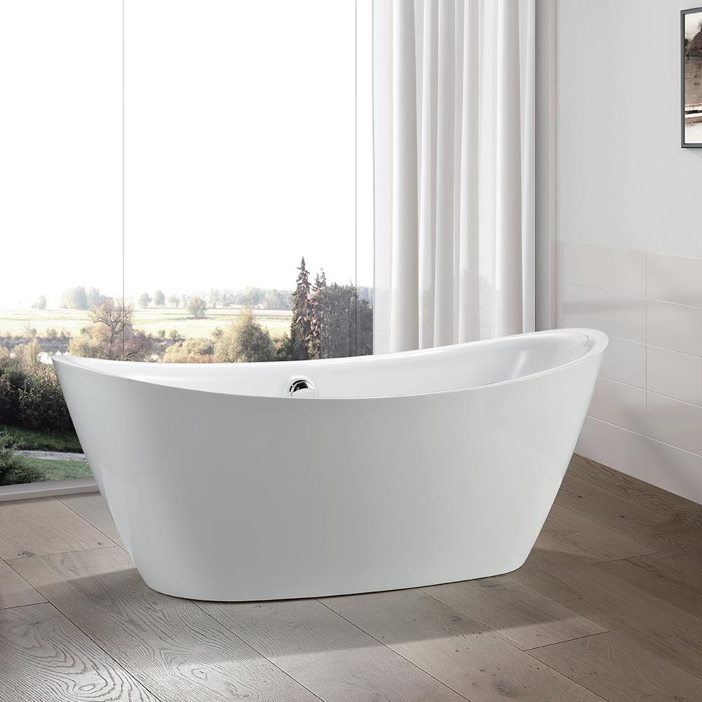 Vanity Art Valence 71 In Acrylic Flatbottom Freestanding Bathtub In