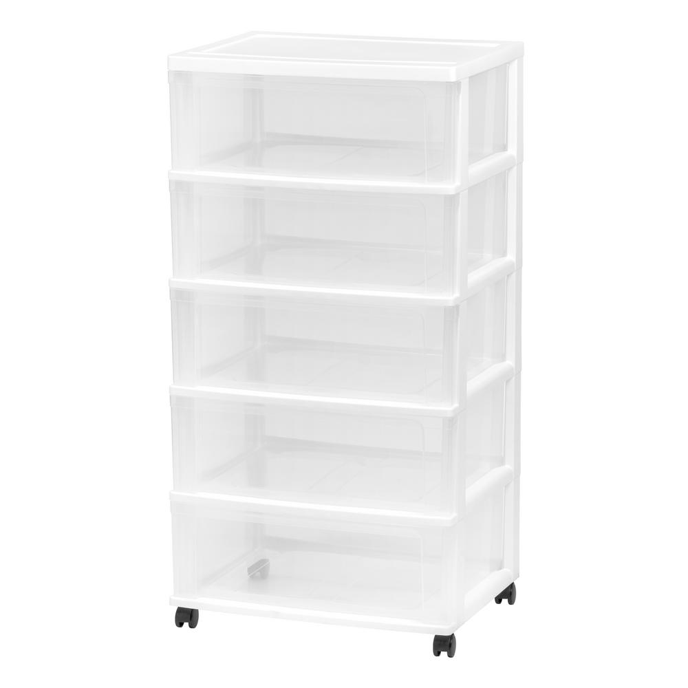 5 Drawer Plastic Wheeled Wide Chest In White