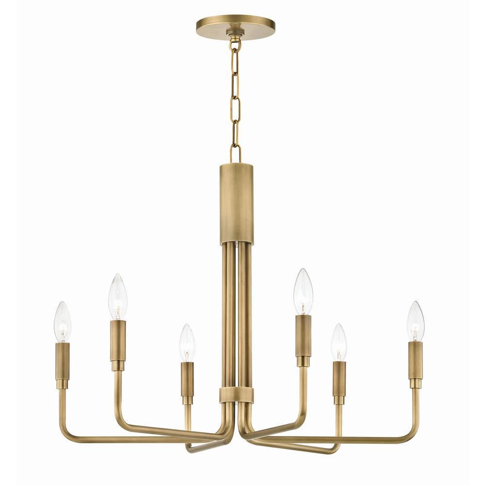 Brigitte 6-Light 25 in. W Aged Brass Pendant