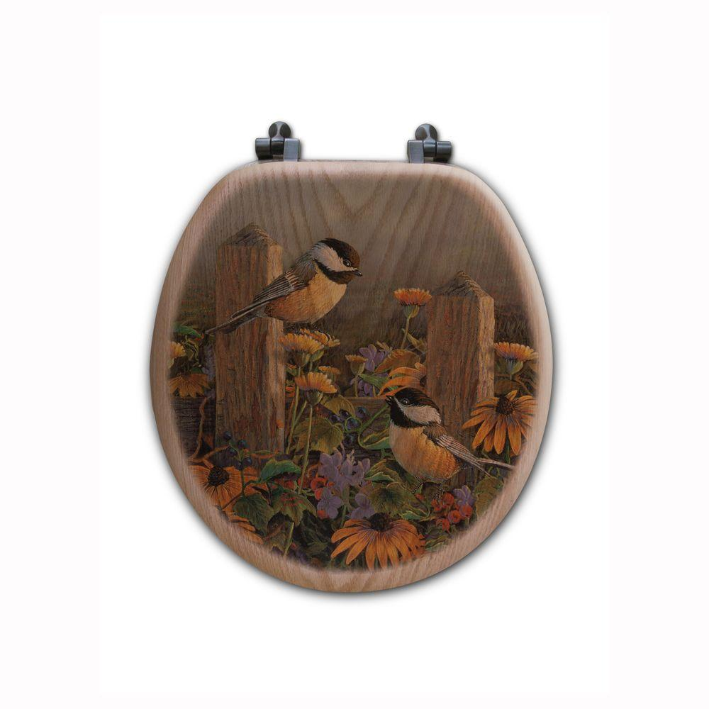 Linda's Chickadees Round Closed Front Wood Toilet Seat in Oak Brown
