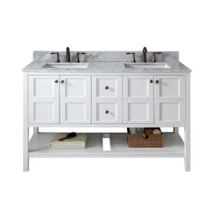 Virtu USA Winterfell 60 inch W x 22 inch D Double Vanity in White with Marble Vanity Top in White with White Basin by Virtu USA