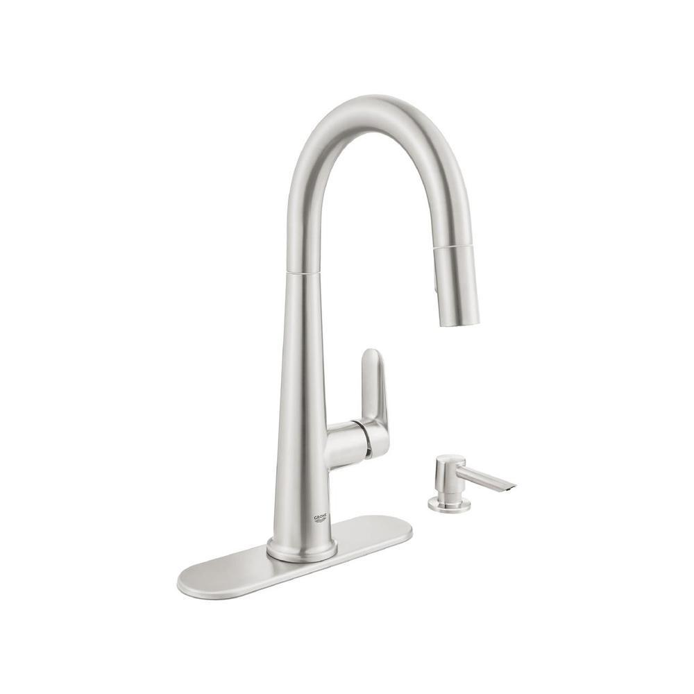 GROHE Veletto Single-Handle Pull-Down Dual Sprayer Kitchen Faucet with Soap  Dispenser in SuperSteel InfinityFinish