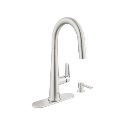 Veletto Single-Handle Pull-Down Dual Sprayer Kitchen Faucet with Soap Dispenser in SuperSteel InfinityFinish