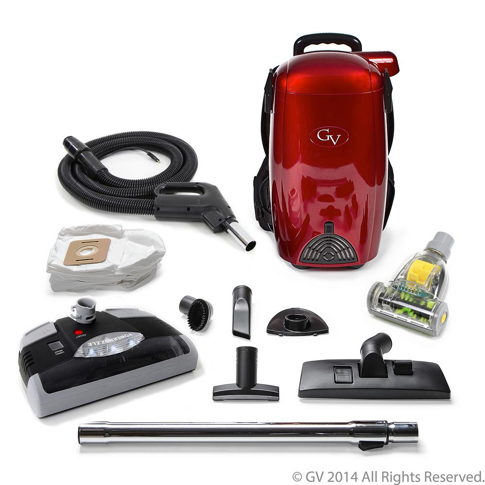 GV 8 Qt. Light Powerful HEPA BackPack Vacuum with Power Head Nozzle