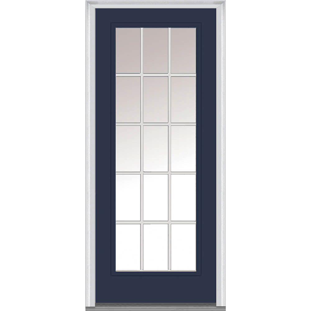 32 in. x 80 in. Grilles Between Glass Left-Hand Inswing Full Lite Clear Low-E Painted Steel Prehung Front Door