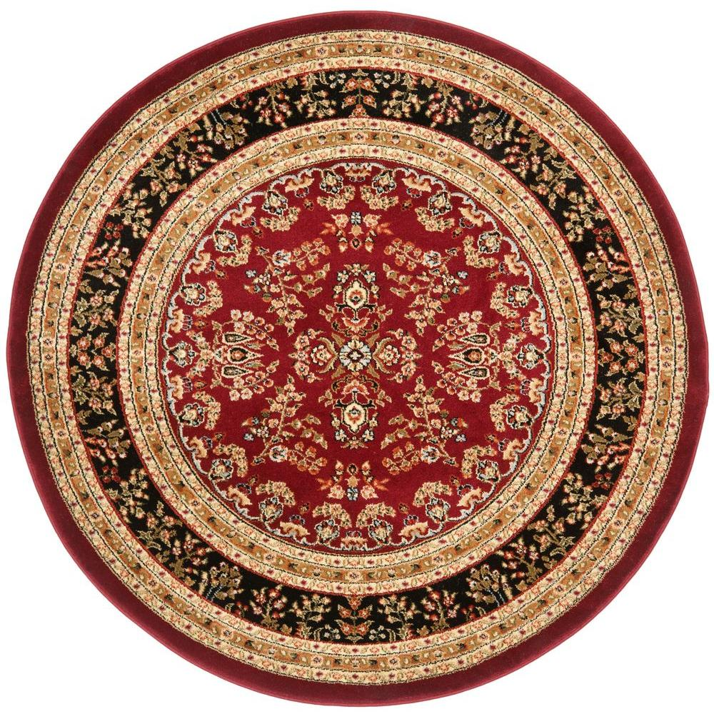 safavieh lyndhurst red black 5 ft 3 in x 5 ft 3 in round area rug lnh331b 5r the home depot. Black Bedroom Furniture Sets. Home Design Ideas