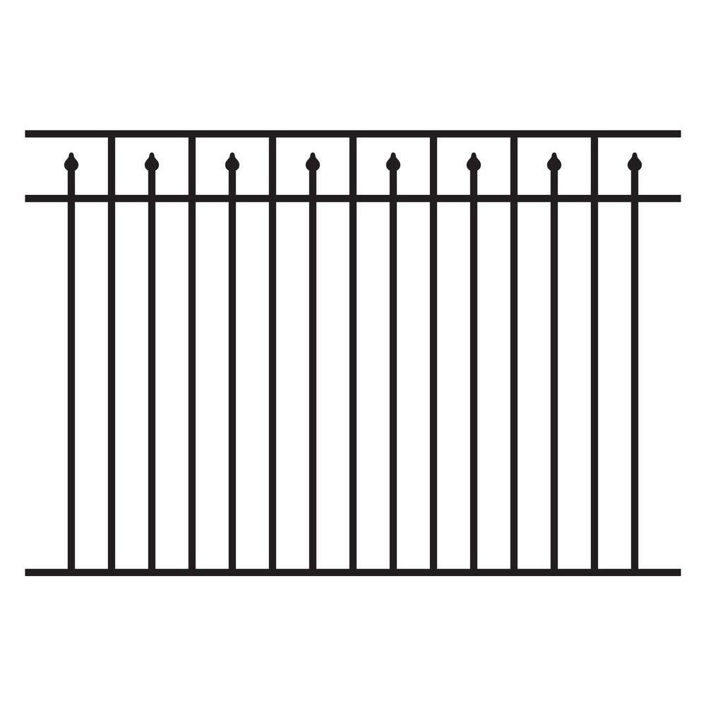 Allure Aluminum 4.5 ft. H x 6 ft. W Aluminum Black Unassembled Provincial 3-Rail Fence Panel