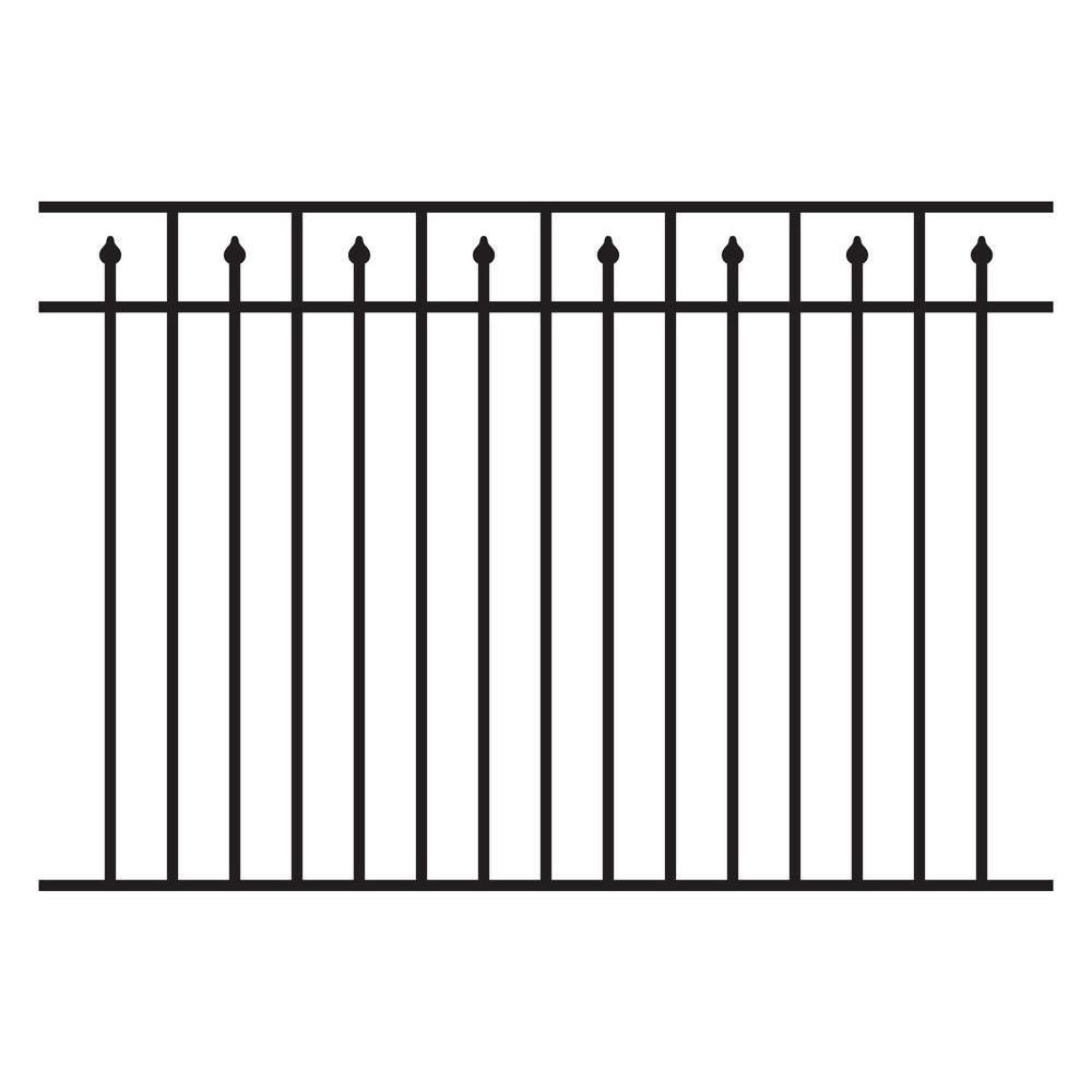 Allure Aluminum 4.5 ft. H x 6 ft. W Aluminum Black Unassembled Provincial Style 3-Rail Fence Section (4-Pack)