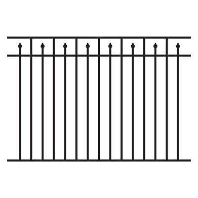 4.5 ft. H x 6 ft. W Aluminum Black Unassembled Provincial Style 3-Rail Fence Section (4-Pack)