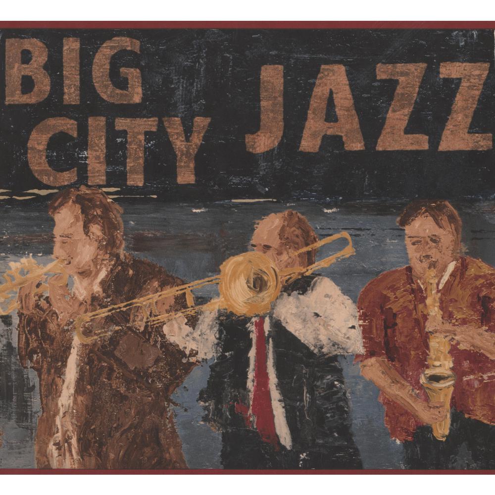 York Wallcoverings Vintage Big City Jazz Band Red Brown Black