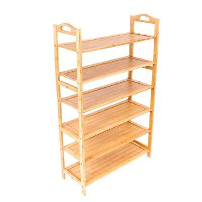 6-layers Wood Color Shoe Racks and Shelves Bamboo Board Shoe Organizer