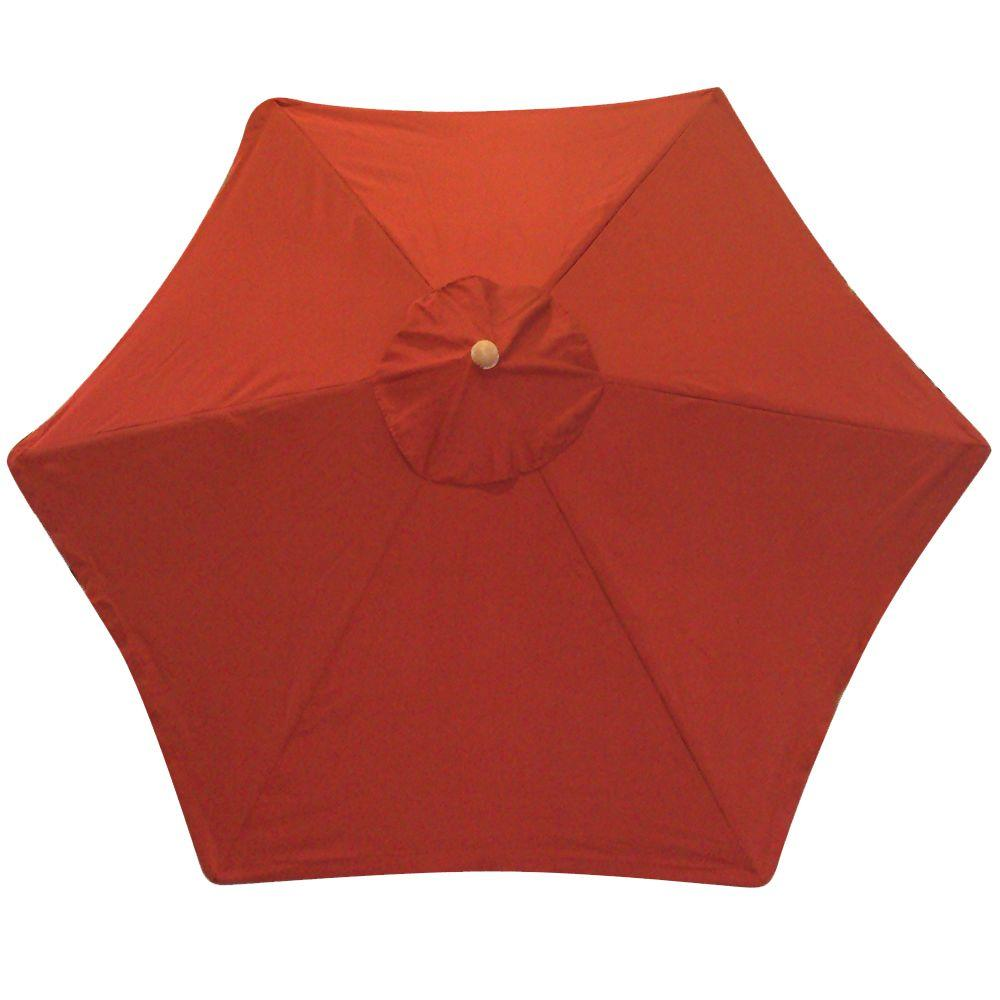 null 9 ft. Wood Patio Umbrella in Red Textured-DISCONTINUED