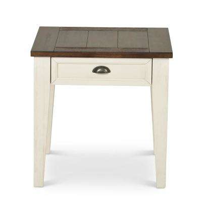 Cayla End Dark Oak and White Table Dark