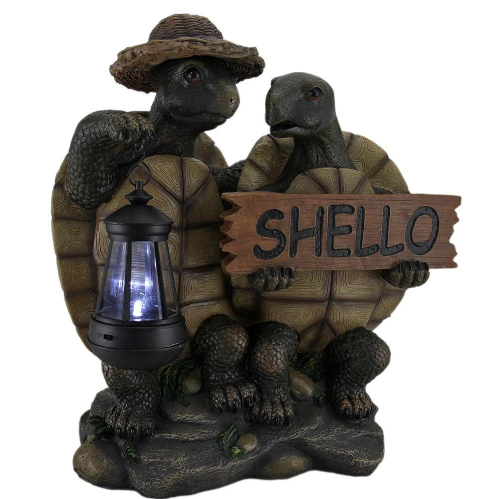 15 in. Shello Decorative Turtle Couple Welcome Sign Garden Statue Solar LED Lantern