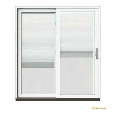 72 in. x 80 in. W-2500 Contemporary Brown Clad Wood Left-Hand Full Lite Sliding Patio Door w/White Paint Interior