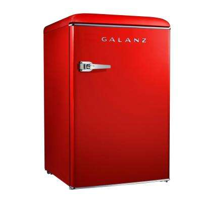 4.4 cu. ft. Retro Mini Refrigerator Single Door Fridge Only in Red