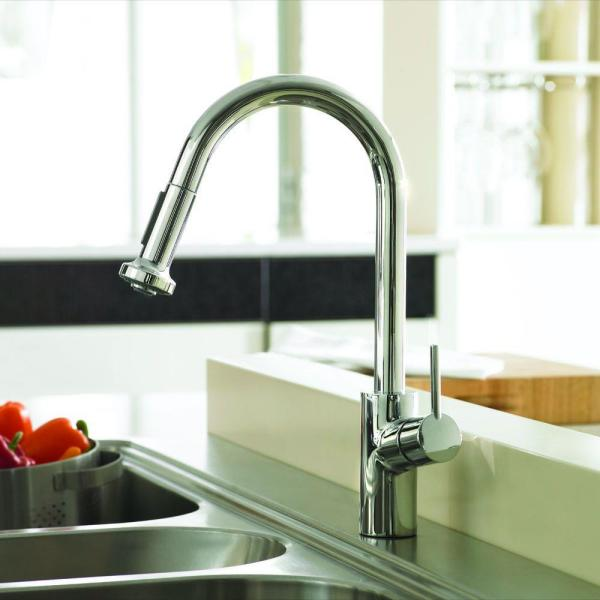 Hansgrohe Talis S Single Handle Pull Down Sprayer Kitchen Faucet In Chrome 14877001 The Home Depot