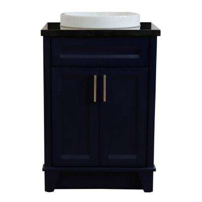 25 in. W x 22 in. D Single Bath Vanity in Blue with Granite Vanity Top in Black Galaxy with White Round Basin