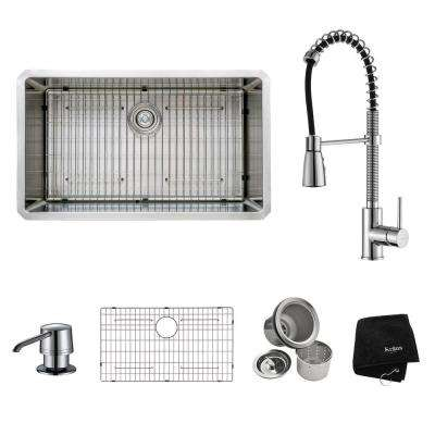 Medium image of all in one undermount stainless steel 32 in  single bowl kitchen sink with
