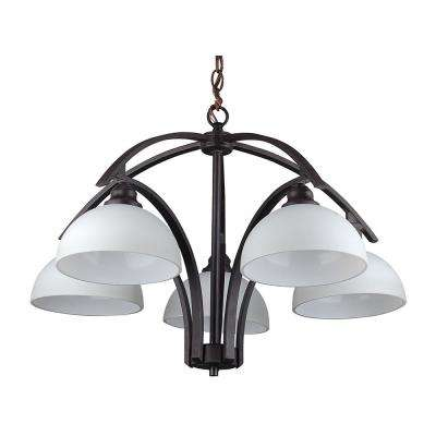 5-Light Ebony Bronze Chandelier with Etched Dove White Glass Shade