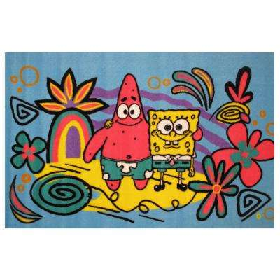 Sponge Bob and Patrick Blue 1 ft. 7 in. x 2 ft. 5 in. Area Rug