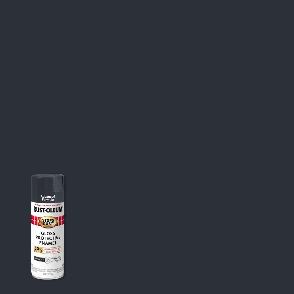 Rust-Oleum Stops Rust 12 oz. Advanced Protective Enamel Gloss Charcoal Gray Spray Paint (6 Pack)