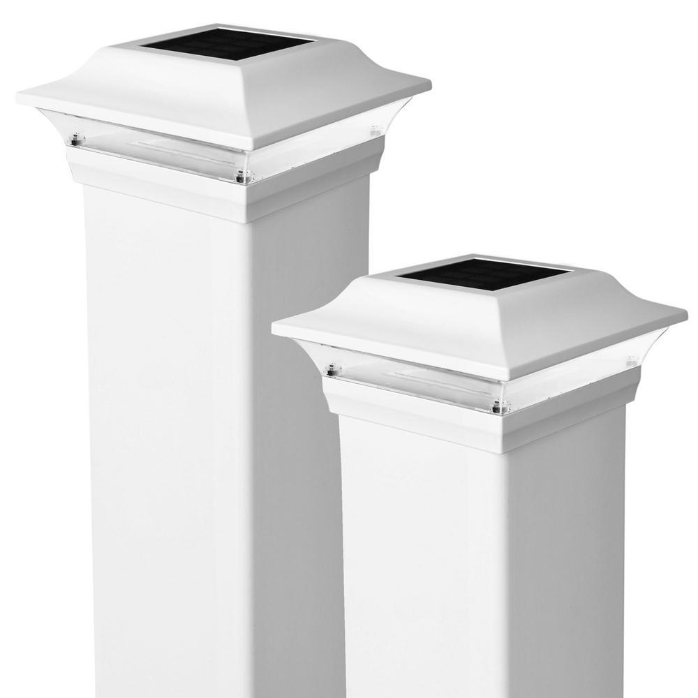 Classy Caps Imperial 4 in. x 4 in. Outdoor White Cast Aluminum LED Solar Post Cap (2-Pack)