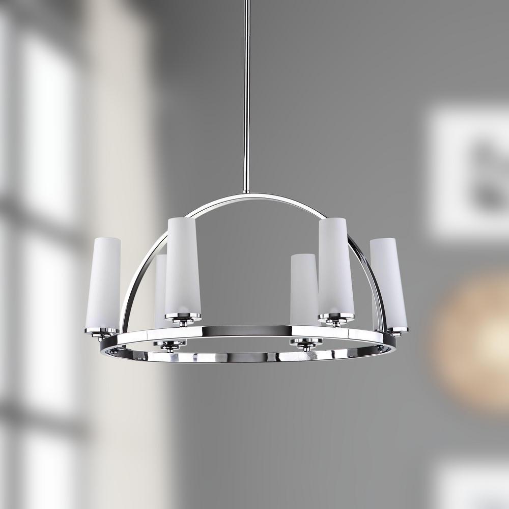 Lunar 6-Light Chrome Chandelier