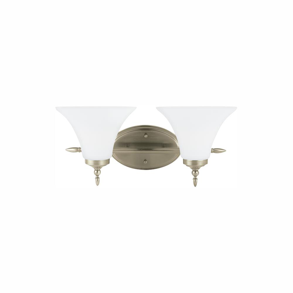 Sea Gull Lighting Montreal 2 Light Antique Brushed Nickel Bath With Led Bulbs