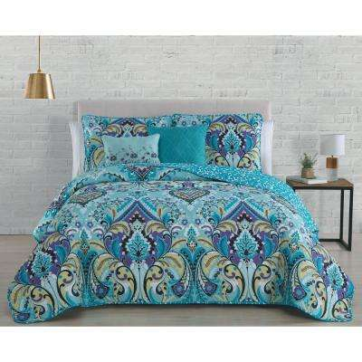 Misha 5-Piece Mint Queen Quilt Set