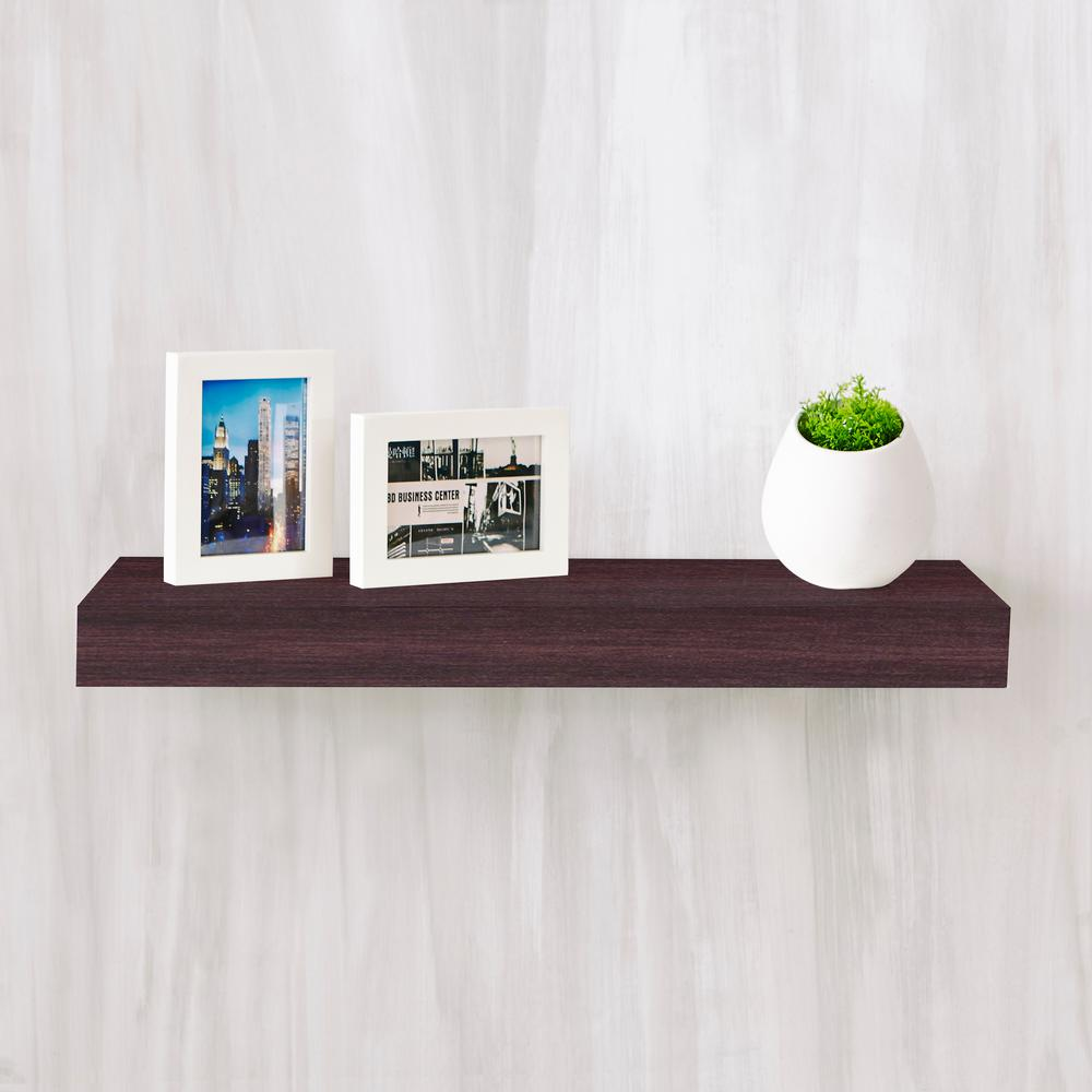 way basics ravello 24 in x 2 in zboard wall shelf decorative floating shelf in espresso wood. Black Bedroom Furniture Sets. Home Design Ideas