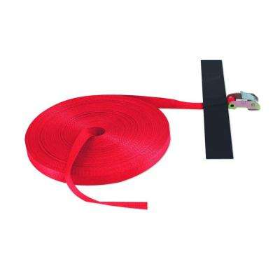100 ft. x 1 in. Cinch Strap with Hook and Loop Storage Fastener in Red