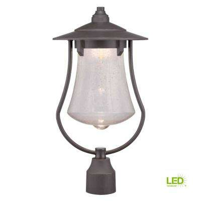 Aged Bronze Patina Outdoor Led Post Light With Clear Seedy Gl