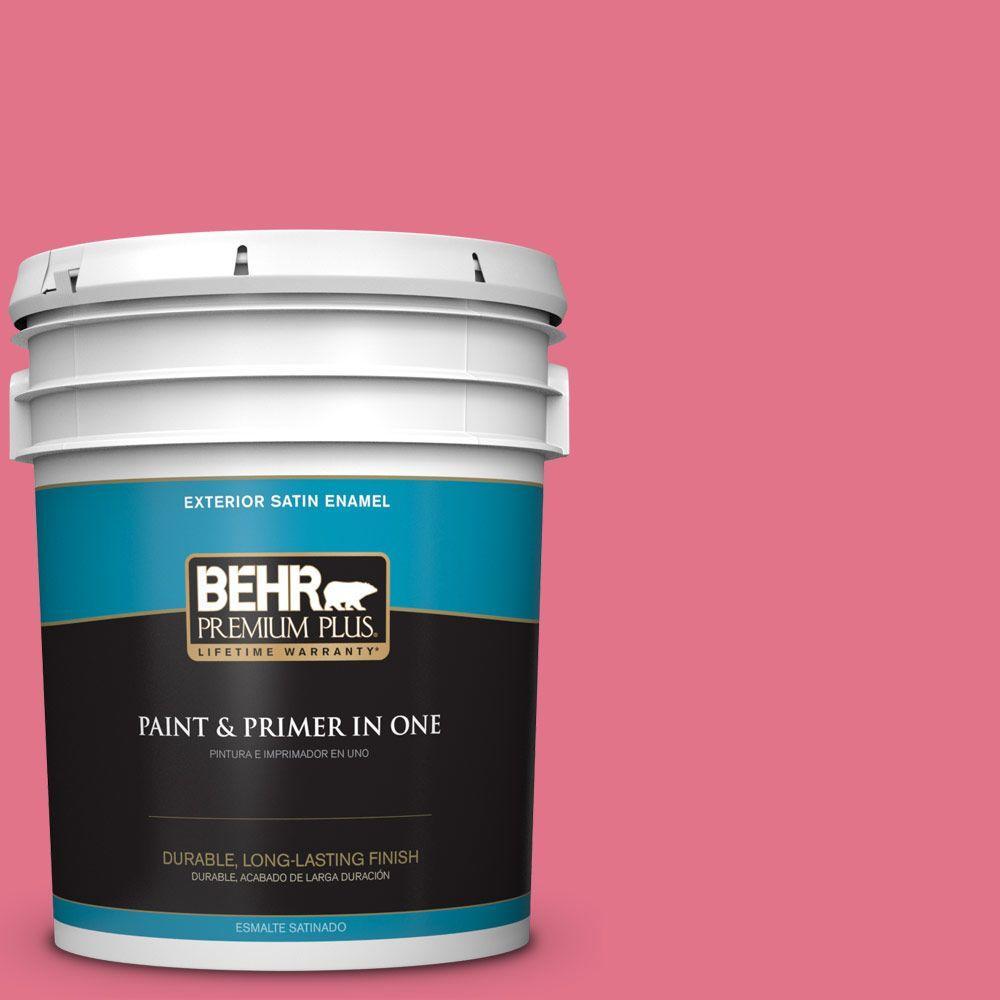 BEHR Premium Plus 5-gal. #120B-6 Watermelon Pink Satin Enamel Exterior Paint