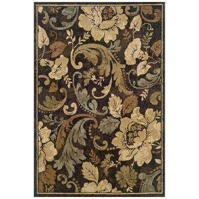 Camille Fleur Brown 3 ft. x 5 ft. Area Rug