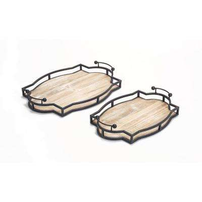 Decorative Black and Brown Trays (Set of 2)