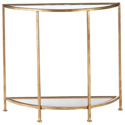 Bella Aged Gold Demilune Glass Console Table