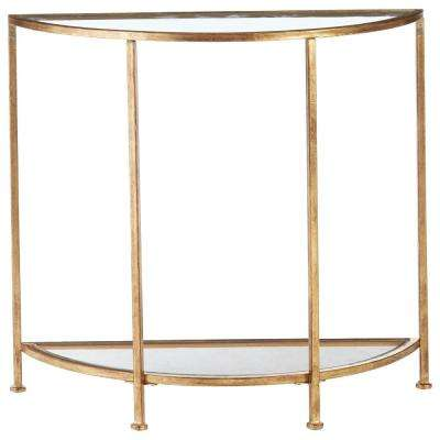 Superieur Bella Aged Gold Demilune Glass Console Table