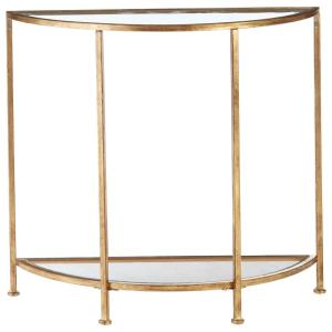 Bella 32 in. Gold Leaf/Clear Standard Half Moon Glass Console Table with Storage
