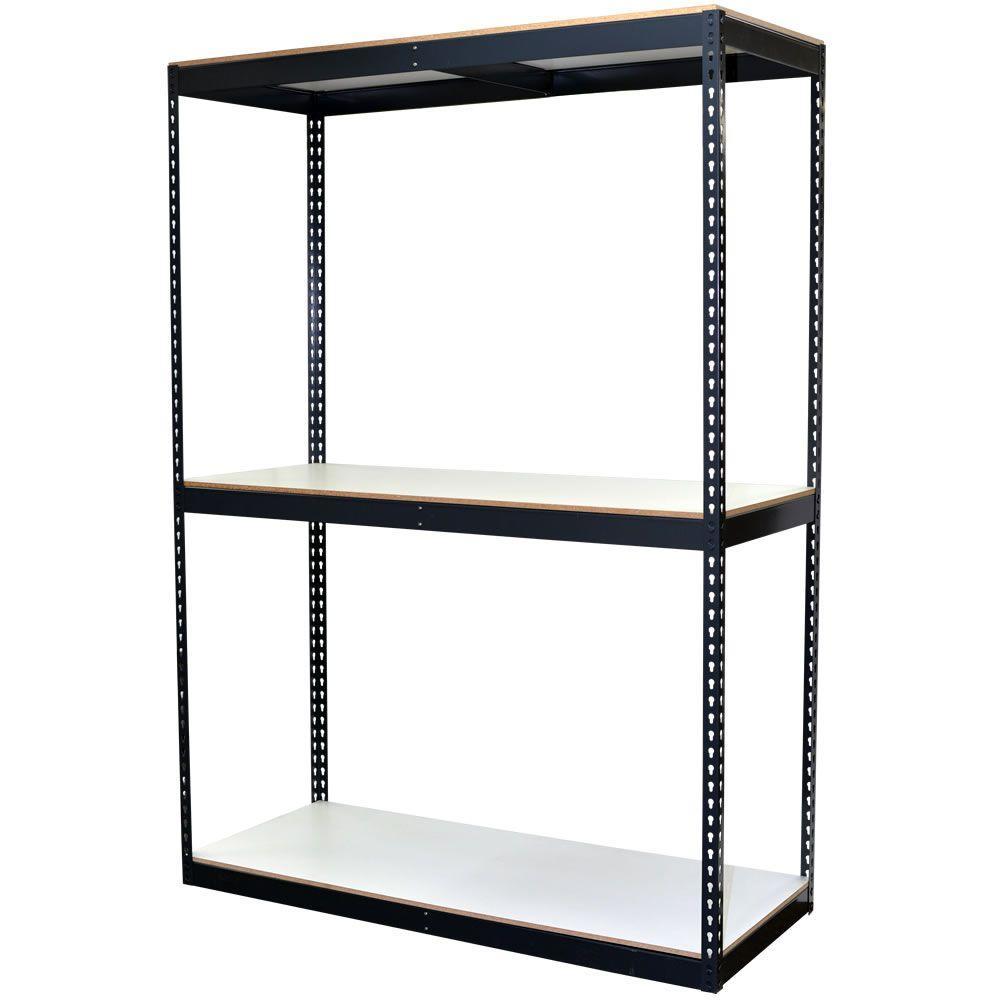 84 in. H x 60 in. W x 24 in. D 3-Shelf Bulk Storage Steel Boltless Shelving Unit w/Double Rivet Shelves & Laminate Board