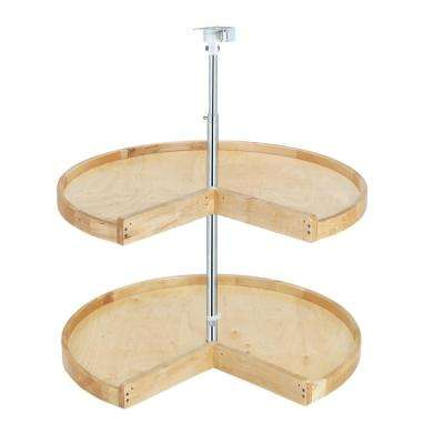 26 in. H x 28 in. W x 28 in. D Wood 2-Shelf Pie Cut Lazy Susan Set