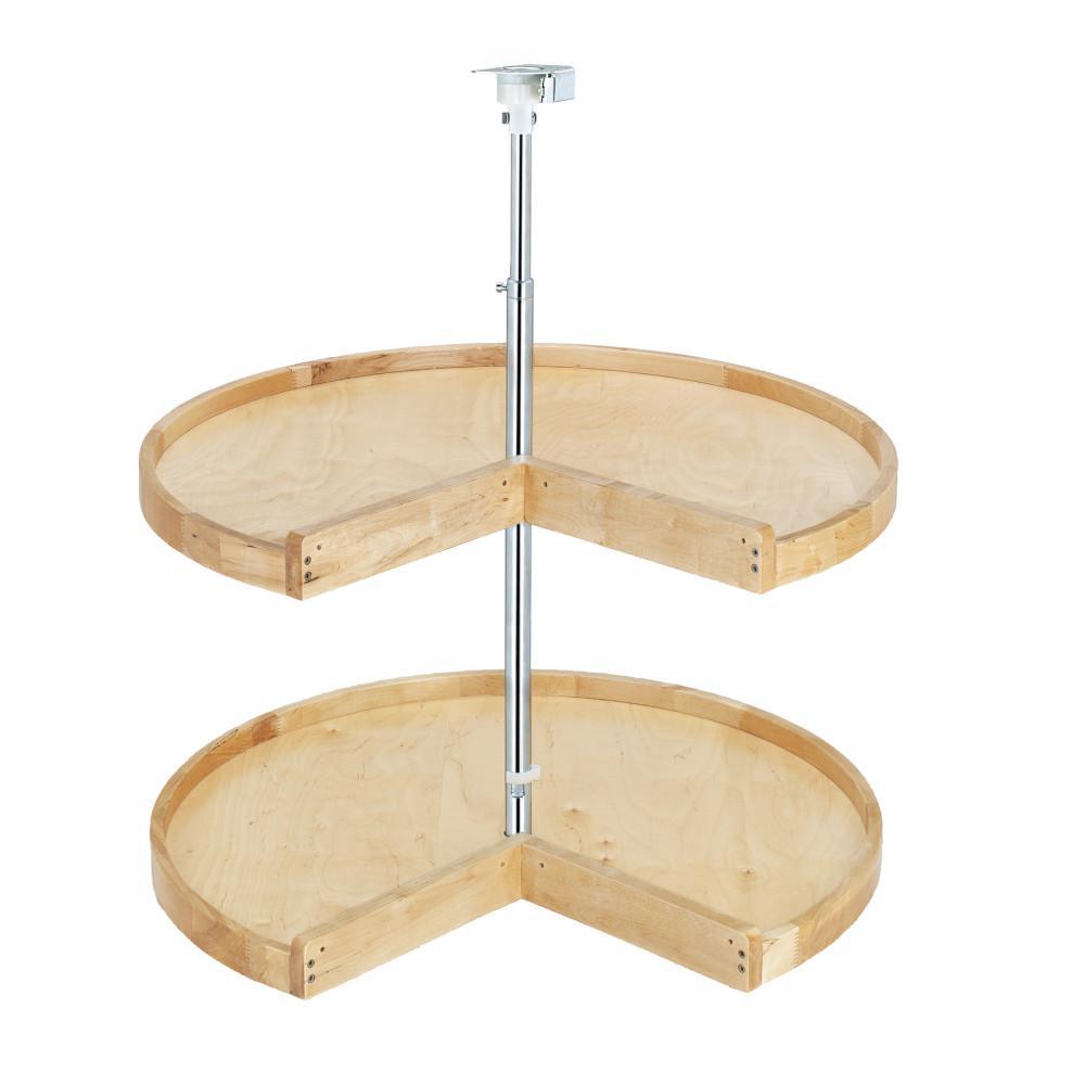 26 in. H x 31 in. W x 31 in. D Wood 2-Shelf Pie Cut Lazy Susan Set