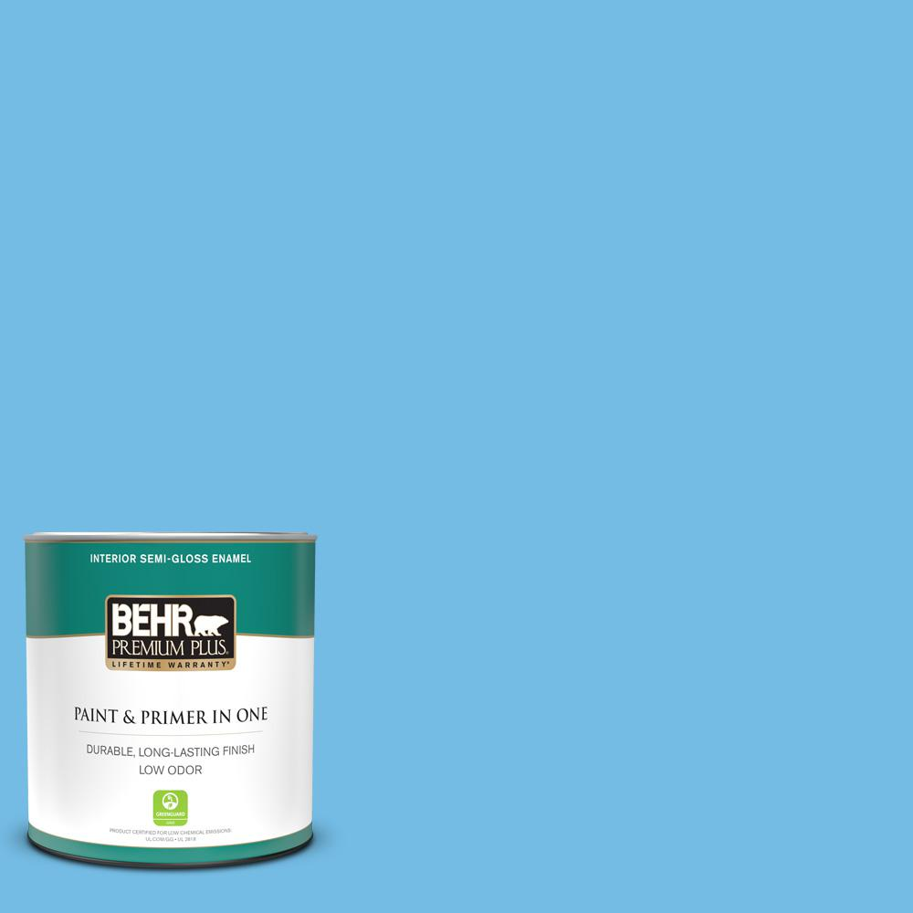 Reviews For Behr Premium Plus 1 Qt 550b 4 Costa Rica Blue Semi Gloss Enamel Low Odor Interior Paint And Primer In One 340004 The Home Depot