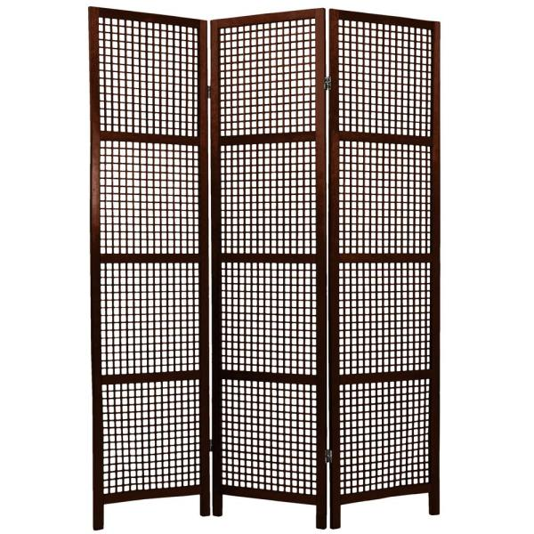 Oriental Furniture 6 ft. Walnut 3-Panel Room Divider MIYAGI-WAL-3P